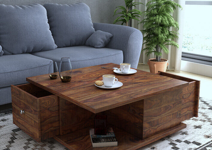 Springtek Amaze 100% Pure Sheesham Wood Coffee Tables with Storage