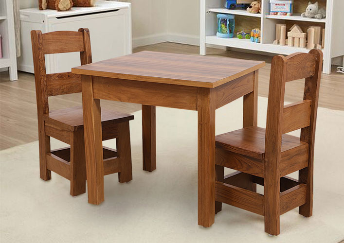 Joy & Me Kids Table with Chairs (Pure Sheesham Wood) by Springtek